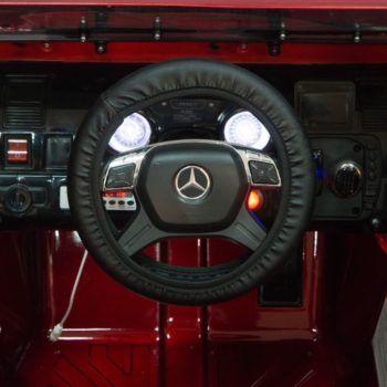 Электромобиль Mercedes-Benz G63 AMG черный глянец (АКБ 12v 7ah, колеса резина, сиденье кожа, пульт, музыка)