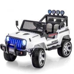 Электромобиль Jeep S2388 белый цвет (полный привод, колеса резина, кресло кожа, пульт музыка)