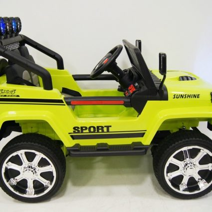 Электромобиль Jeep T008TT зеленый (2х местный, полный привод, колеса резина, кресло кожа, пульт музыка)
