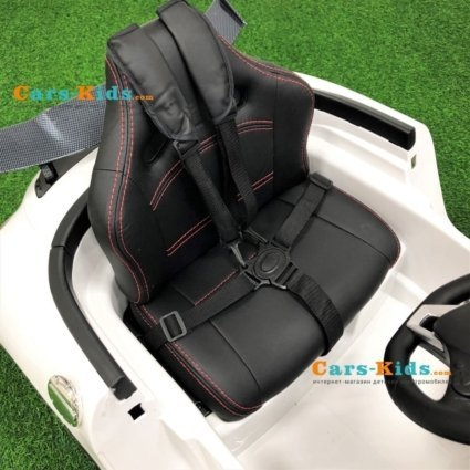 Электромобиль Mercedes-Benz SLS AMG VIP Carbon белый (колеса резина, сиденье кожа, пульт, музыка, электроусилитель)
